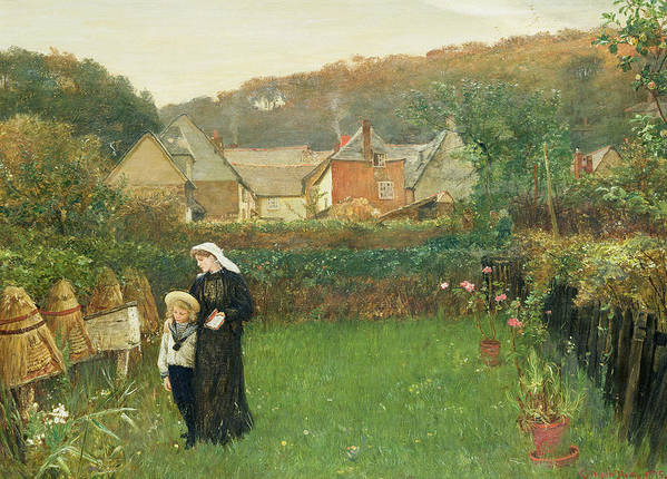 Female; Mother; Child; Mourning; Sailor Suit; Beehive; Garden; Walking Art Print featuring the painting The Widow by Charles Napier Hemy