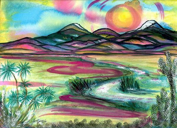Landscape Art Print featuring the mixed media The Wild West by Laura Johnson