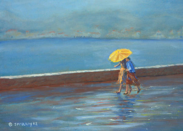 Rain Art Print featuring the painting The Yellow Umbrella by Jerry McElroy