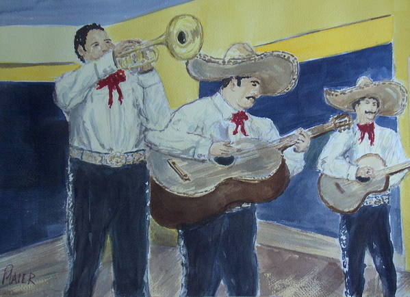 Mariachi Band Art Print featuring the painting Three Amigos by Pete Maier