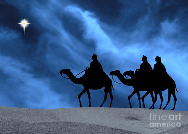 Three Kings Art Print featuring the photograph Three Kings Travel By The Star Of Bethlehem - Midnight by Gary Avey