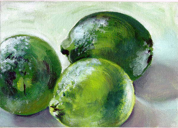 Food Art Print featuring the painting Three Limes by Sarah Lynch