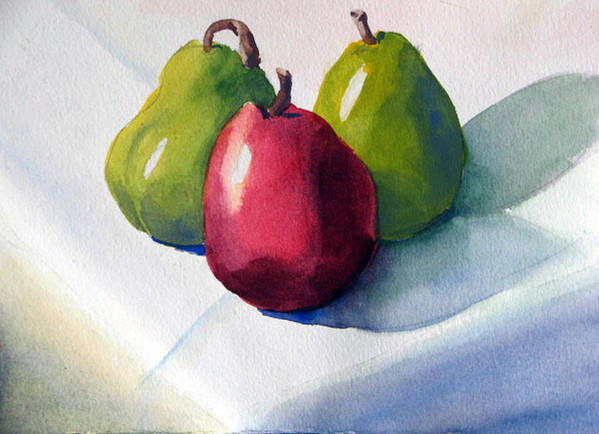 Pears Art Print featuring the painting Three Pear by Libby Cagle