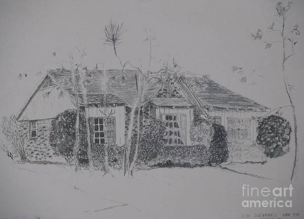 Christmas House Art Print featuring the drawing Through The Woods To Grandmother by James SheppardIII