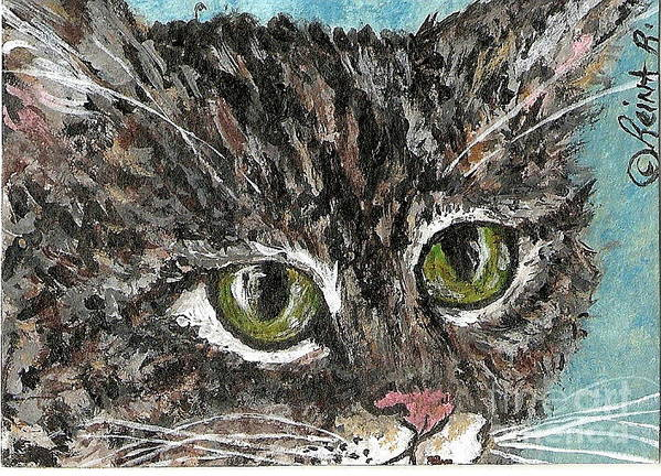 Cats Art Print featuring the painting Tiger Cat by Reina Resto