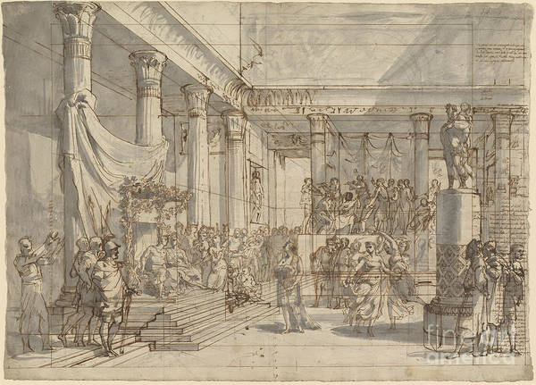 Art Print featuring the drawing Timotheus Playing The Lyre Before Alexander And Tha?s In The Hall Of The Palace At Persepolis by Pietro Fancelli