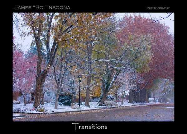 Country Art Print featuring the photograph Transitions Autumn To Winter Snow Poster by James BO Insogna