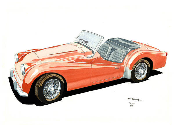 Transportation Art Print featuring the painting Triumph Tr2 by John Kinsley