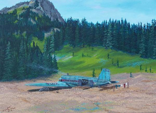 Landscape / Dc-3 Airplane Art Print featuring the painting Twa Mountaintop Cabin by Gene Ritchhart