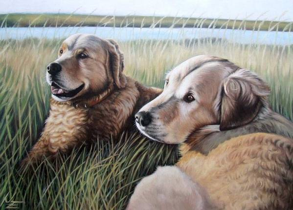 Dogs Art Print featuring the painting Two Golden Retriever by Nicole Zeug