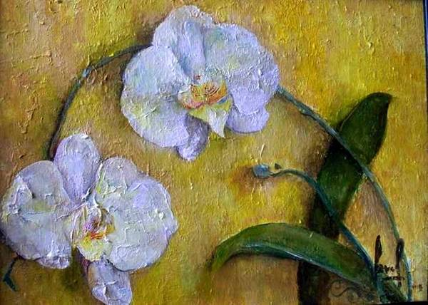 Art Print featuring the painting Two White Orchids by Carol P Kingsley