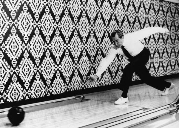 1970s Candids Art Print featuring the photograph U.s. President Richard Nixon, Bowling by Everett