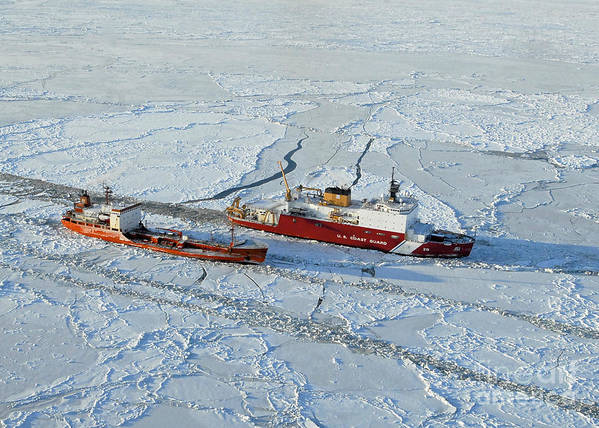 Us Coast Guard Art Print featuring the photograph Uscg Healy Breaks Ice by Stocktrek Images