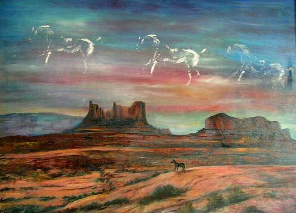 Landscape Art Print featuring the painting Valley Of The Horses by Darla Joy Johnson