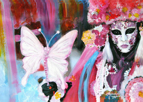Venice Art Print featuring the painting Venetian Mask With Butterfly by Leonardo Ruggieri