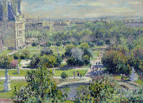 View Art Print featuring the painting View Of The Tuileries Gardens by Claude Monet