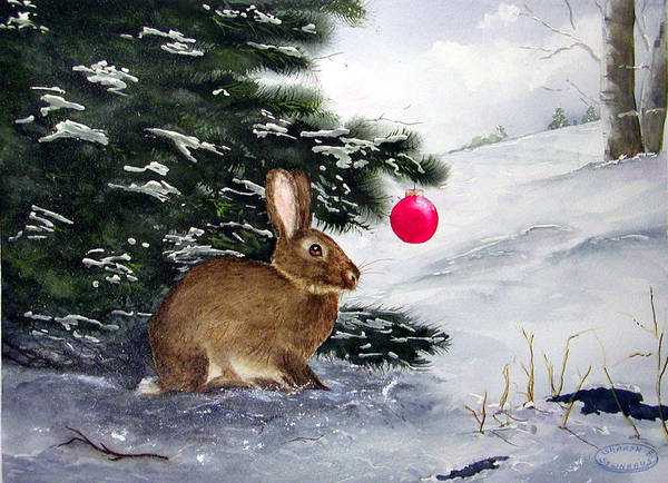 Bunny Art Print featuring the painting Waiting For Santa by Sharon Steinhaus