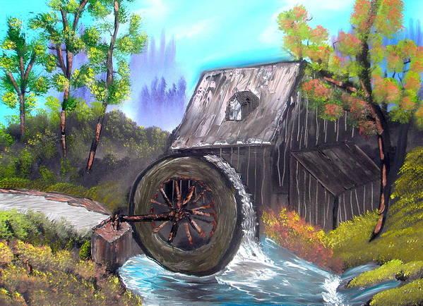 Waterwheel Art Print featuring the painting Waterwheel by Sheldon Morgan