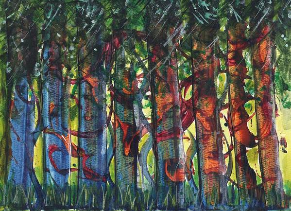Trees Art Print featuring the painting When The Trees Came Out To Play by Melody Carr