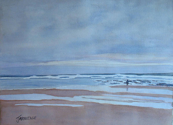 Ocean Art Print featuring the painting Winter Morning Solitude by Jenny Armitage