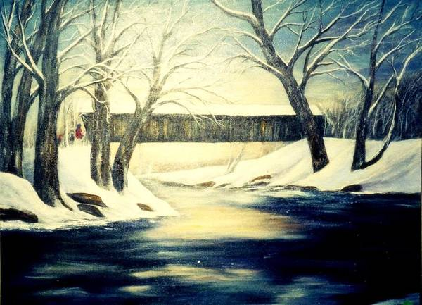 Bridge Art Print featuring the painting Winter Walk At Bennett's Mill Bridge by Gail Kirtz