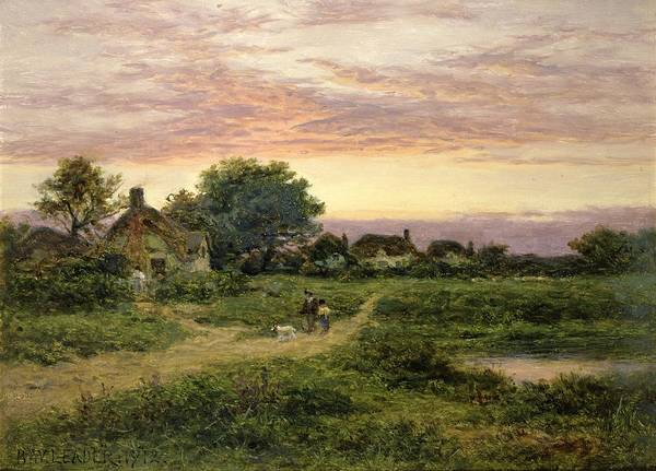 Worcestershire Art Print featuring the painting Worcestershire Cottages by Benjamin William Leader