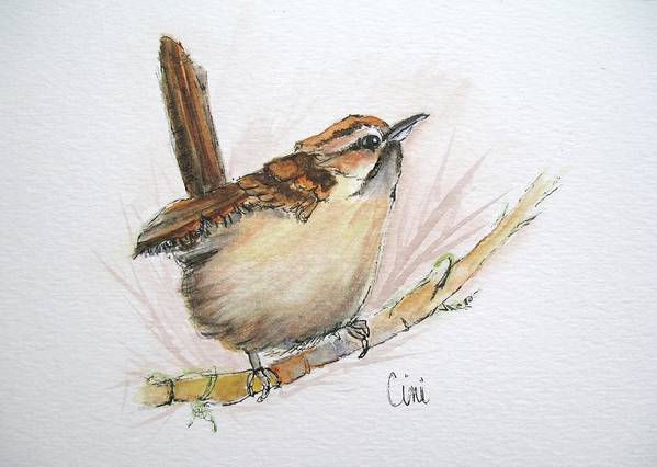 Songbird Art Print featuring the painting Wren by Lisa Cini
