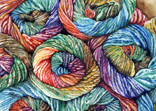 Yarn Art Print featuring the painting Yarn by Nadi Spencer