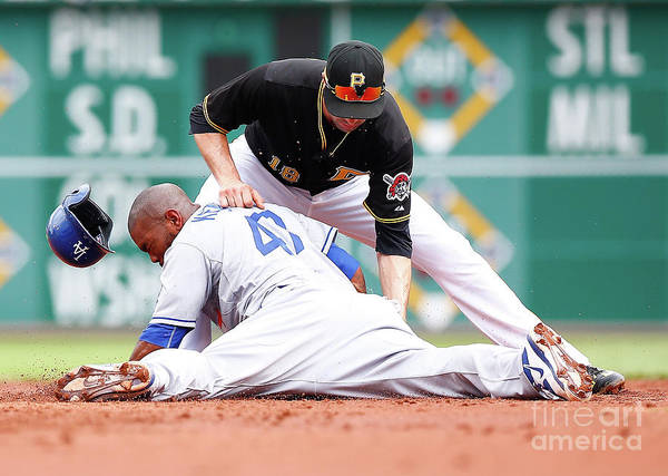 Second Inning Art Print featuring the photograph Howie Kendrick And Neil Walker by Jared Wickerham