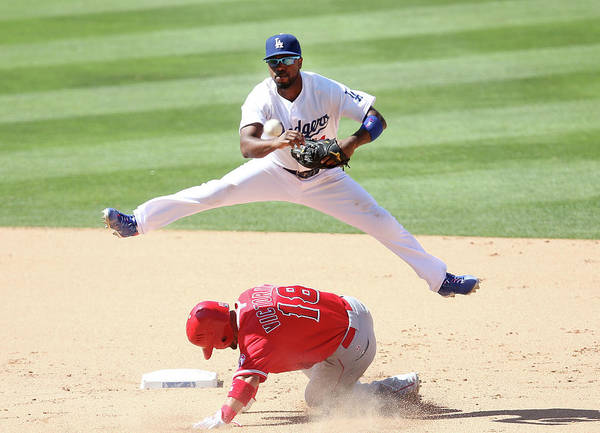 Double Play Art Print featuring the photograph Shane Victorino And Jimmy Rollins by Stephen Dunn