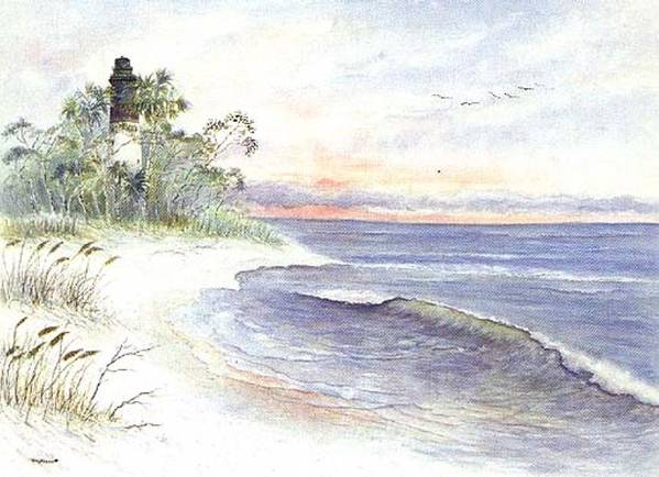 Lighthouse Art Print featuring the painting Solitude by Ben Kiger