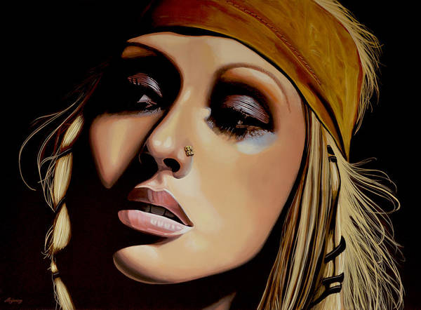 Christina Aguilera Art Print featuring the painting Christina Aguilera Painting by Paul Meijering