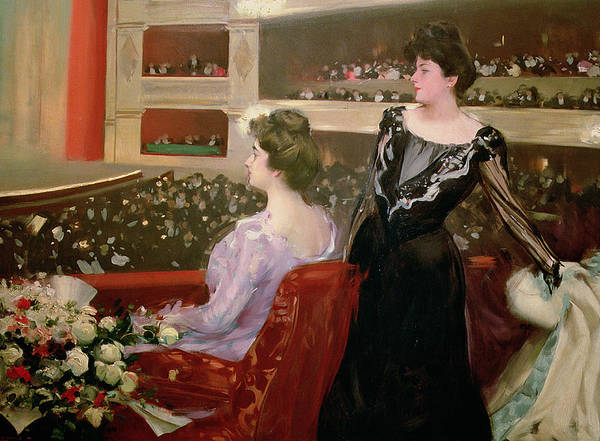 Theater; Audience; Entertainment; Seated; Flower; Bouquet; Female; Stalls; Performance Art Print featuring the painting The Lyceum by Ramon Casas i Carbo