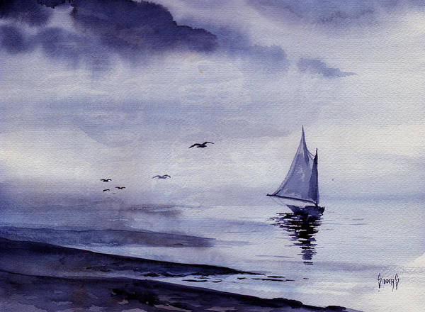 Ocean Print featuring the painting Boat by Sam Sidders