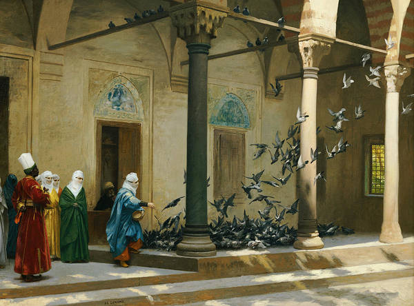 Harem Art Print featuring the painting Harem Women Feeding Pigeons In A Courtyard by Jean Leon Gerome