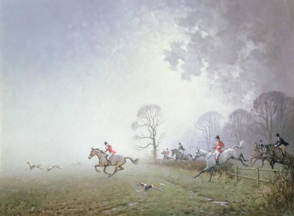 Blood Sport; Huntmen; Pink Coat; Hounds; Mist; Fog; Landscape Art Print featuring the painting Hunting Scene by Ninetta Butterworth