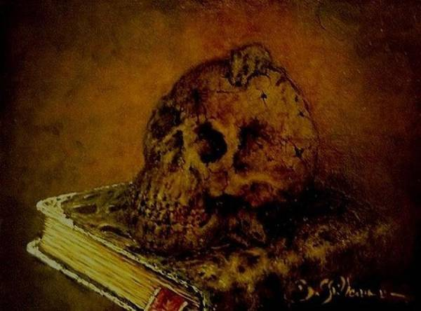 The Book Of The Dead Art Print featuring the painting Le Livre Des Morts by Guillaume Bruno