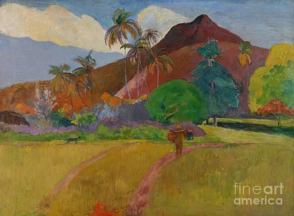 Tahiti; Tahitian; Landscape; View; Rural; Remote; French Polynesia; Mountain; Mountainous; Male; Walking; Path; Palm Tree; Trees; Tropical Art Print featuring the painting Tahitian Landscape by Paul Gauguin