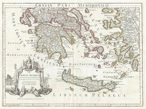 photograph regarding Printable Map of Ancient Greece named 1794 Delisle Map Of Southern Historic Greece Greeks Isles And Crete Artwork Print