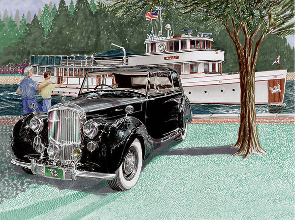 Classic 1936 Bentley British Car Art Art Print featuring the painting Bentley Waving To Malibu by Jack Pumphrey