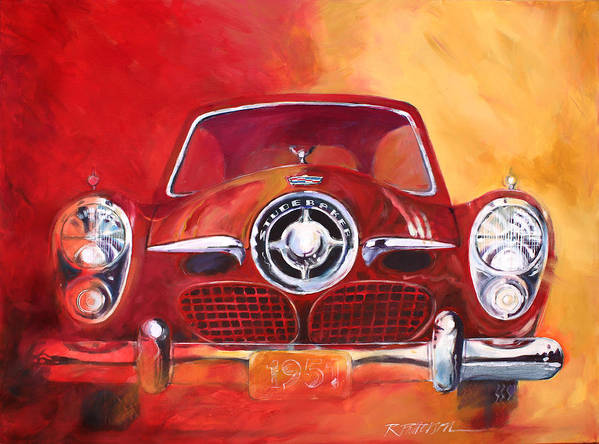 Transportation Art Print featuring the painting 1951 Studebaker by Ron Patterson