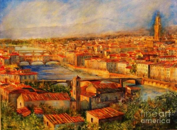 Bridges Of Florence Art Print featuring the painting Bridges Of Florence by Dagmar Helbig