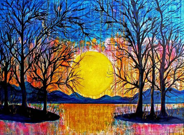 Sunset Painting Art Print featuring the painting Raining Sunset by Janet Immordino