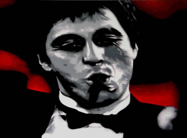 Ludzska Art Print featuring the painting Scarface 2013 by Luis Ludzska