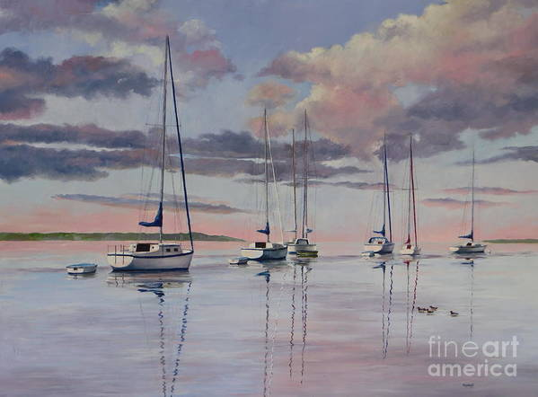 Sailboats Art Print featuring the painting Cuttyhunk Harbor by Karol Wyckoff