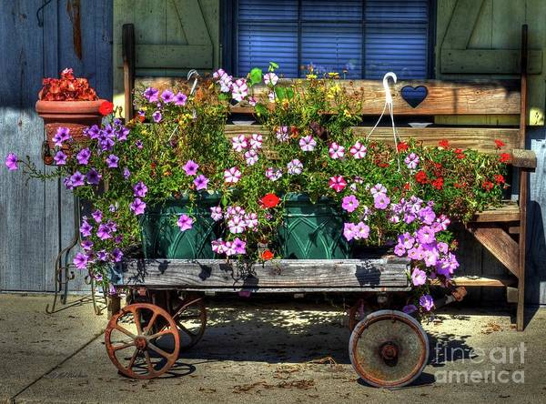A Flower Wagon Art Print featuring the photograph A Flower Wagon by Mel Steinhauer