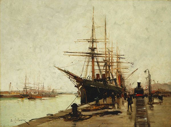 19th Century Art Print featuring the painting A Harbor by Eugene Galien-Laloue