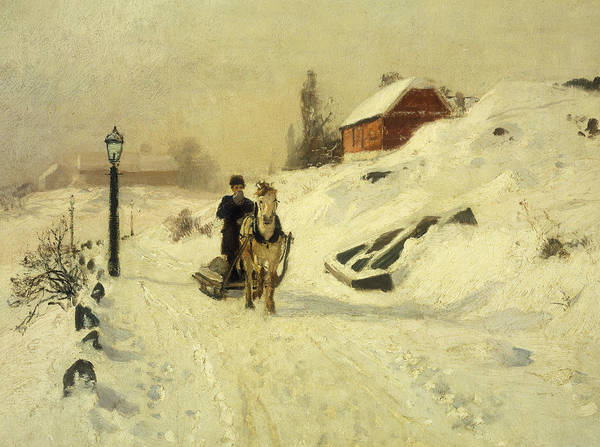 Horse-drawn Art Print featuring the painting A Horse Drawn Sleigh In A Winter Landscape by Fritz Thaulow