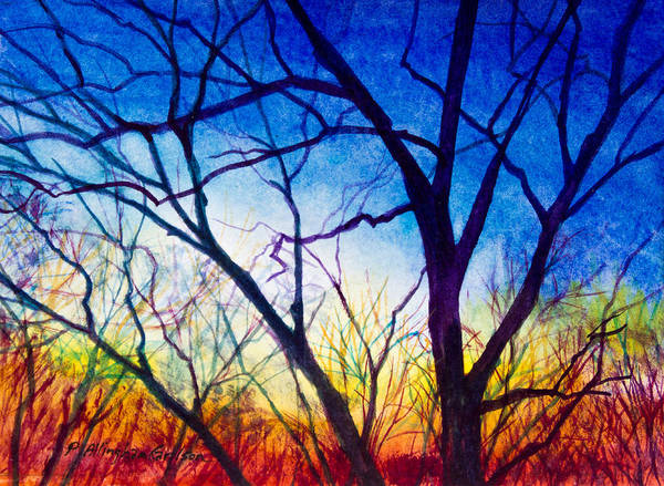 Tree Art Print featuring the painting A Primary Sunset by Patricia Allingham Carlson