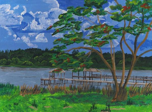 Lake Art Print featuring the painting A Walk By Lake Clay by Beverly Marshall